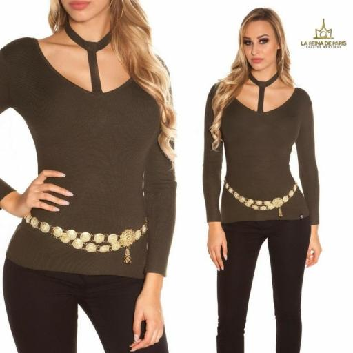 Suéter de moda khaki con choker  [3]