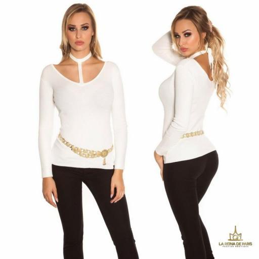 Suéter de moda blanco con choker  [1]