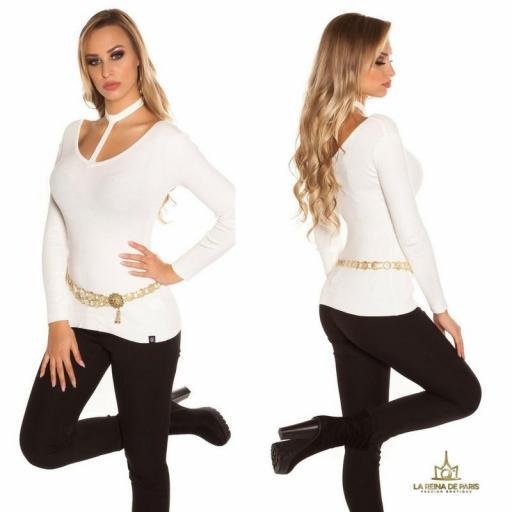 Suéter de moda blanco con choker  [3]