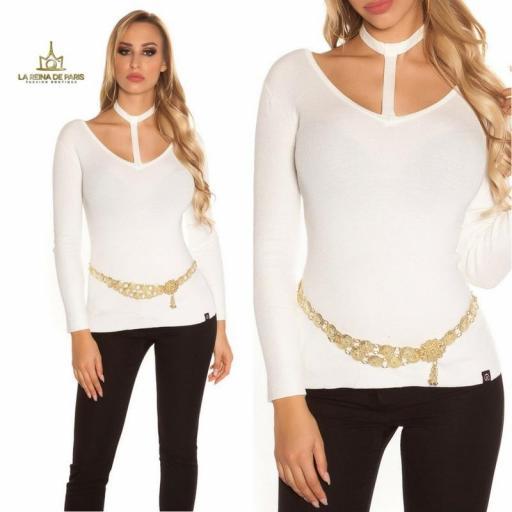 Suéter de moda blanco con choker  [2]