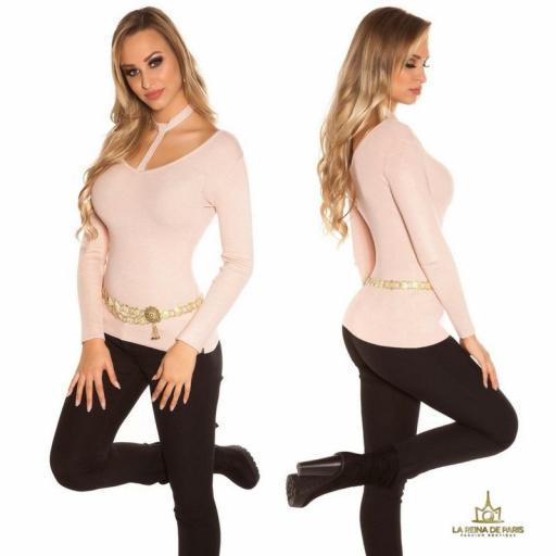 Suéter de moda rosa con choker  [2]