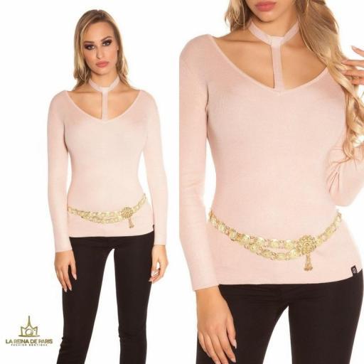 Suéter de moda rosa con choker  [3]