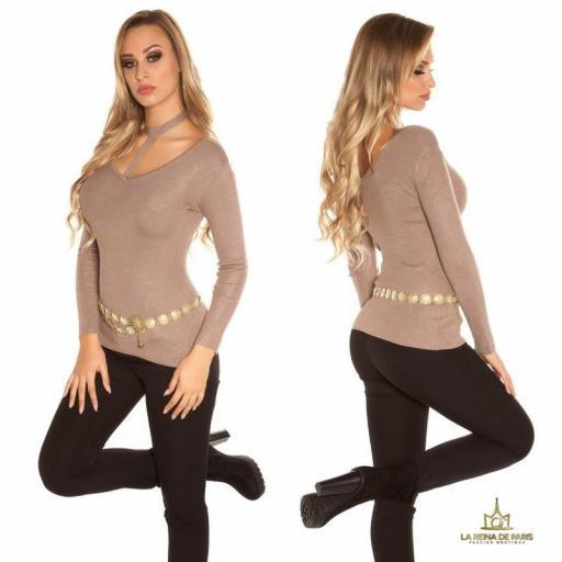 Suéter de moda capuchino con choker  [2]