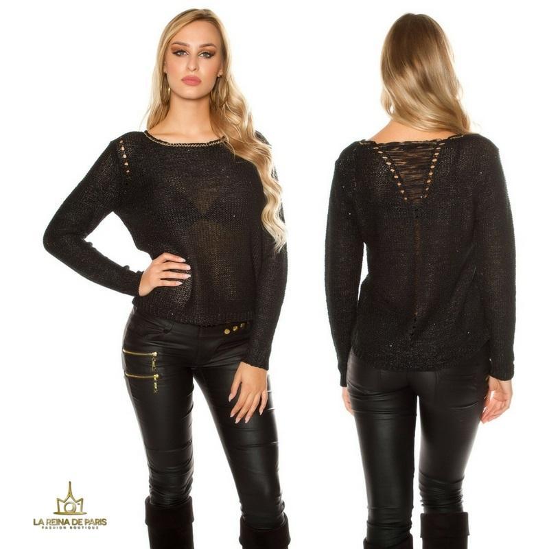 Suéter negro coarse cord