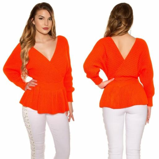 Suéter con péplum naranja neón