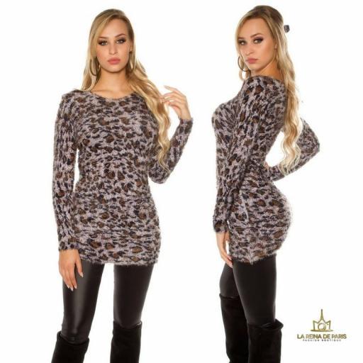 Suéter largo de leopardo mullido  [1]