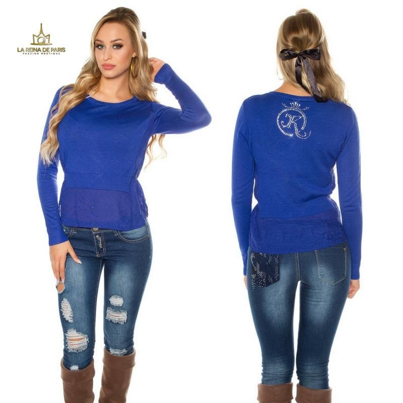 Suéter moda mujer efecto top crop