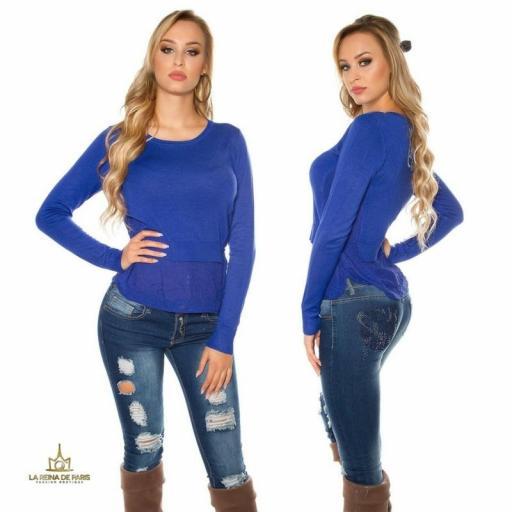 Suéter moda mujer efecto top crop   [2]