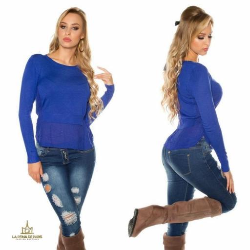 Suéter moda mujer efecto top crop   [3]