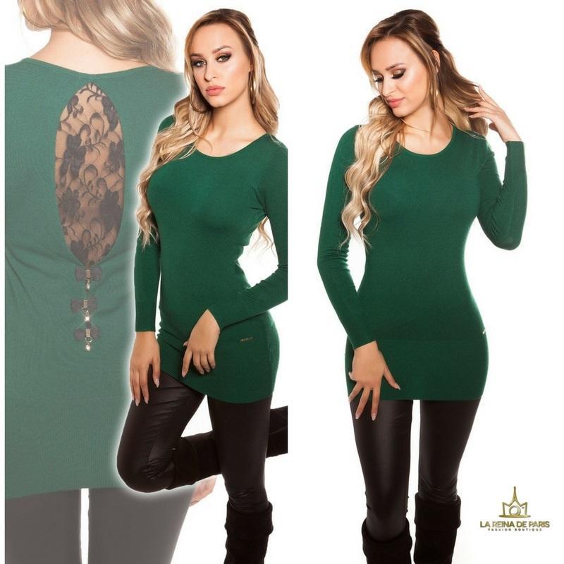 Suéter largo verde con encaje