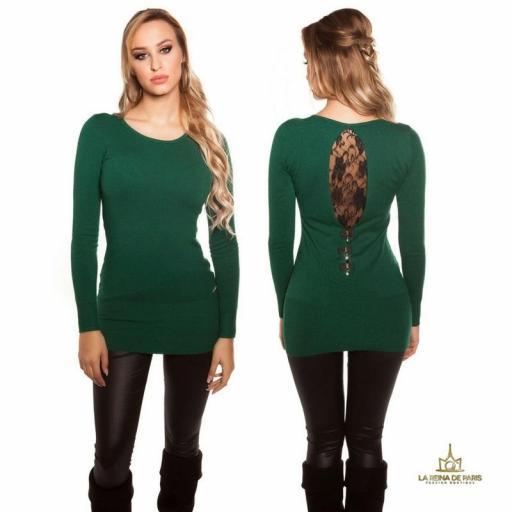 Suéter largo verde con encaje      [1]