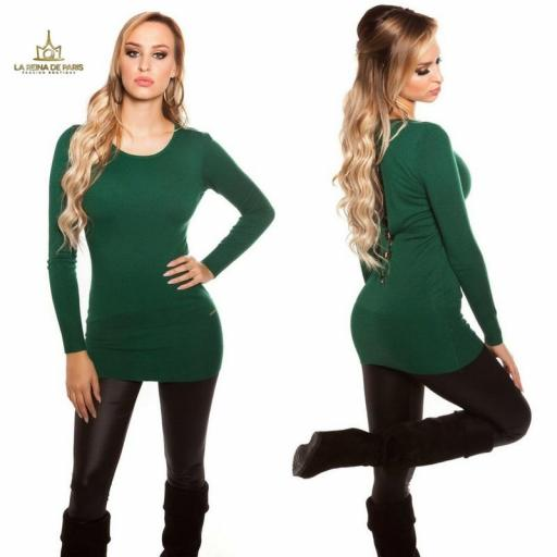 Suéter largo verde con encaje      [2]