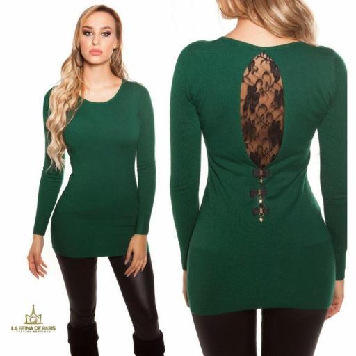 Suéter largo verde con encaje      [3]