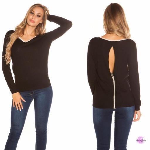 Suéter cremallera posterior negro