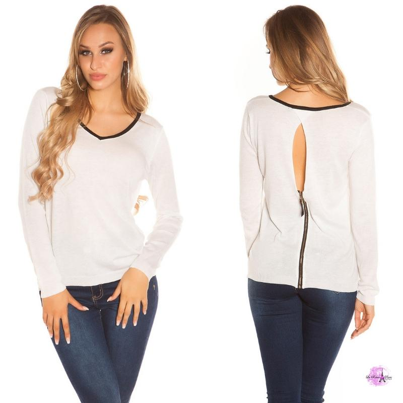 Suéter cremallera posterior blanco