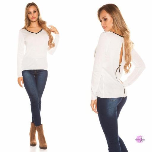 Suéter cremallera posterior blanco [1]