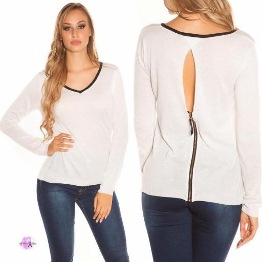 Suéter cremallera posterior blanco [3]