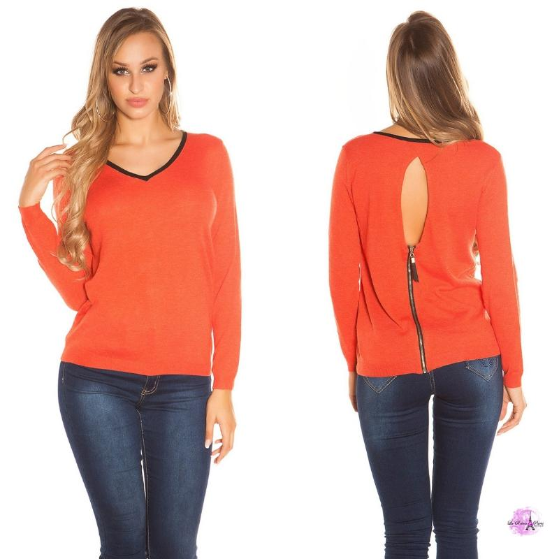Suéter cremallera posterior coral