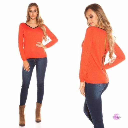 Suéter cremallera posterior coral [1]