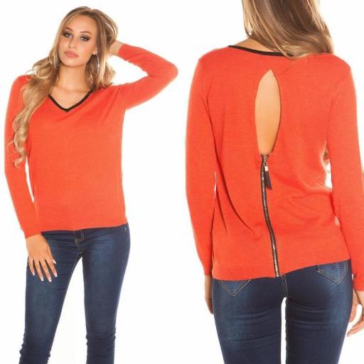 Suéter cremallera posterior coral [3]