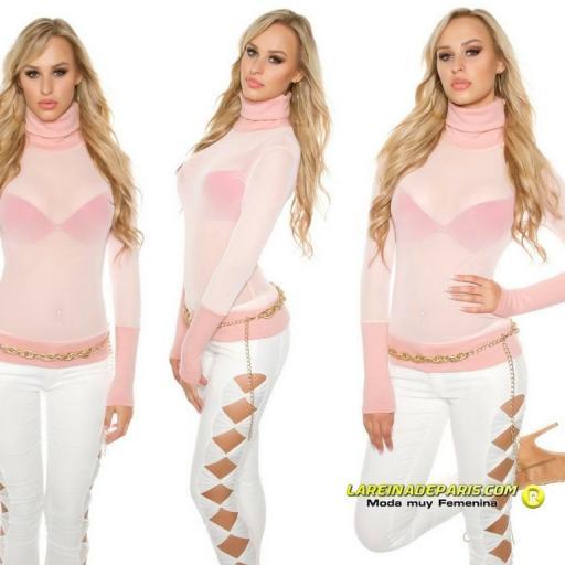 suéter de malla y cuello alto rosa  [3]