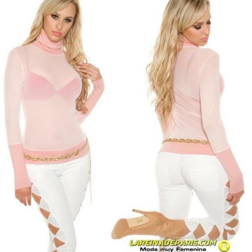 suéter de malla y cuello alto rosa  [2]