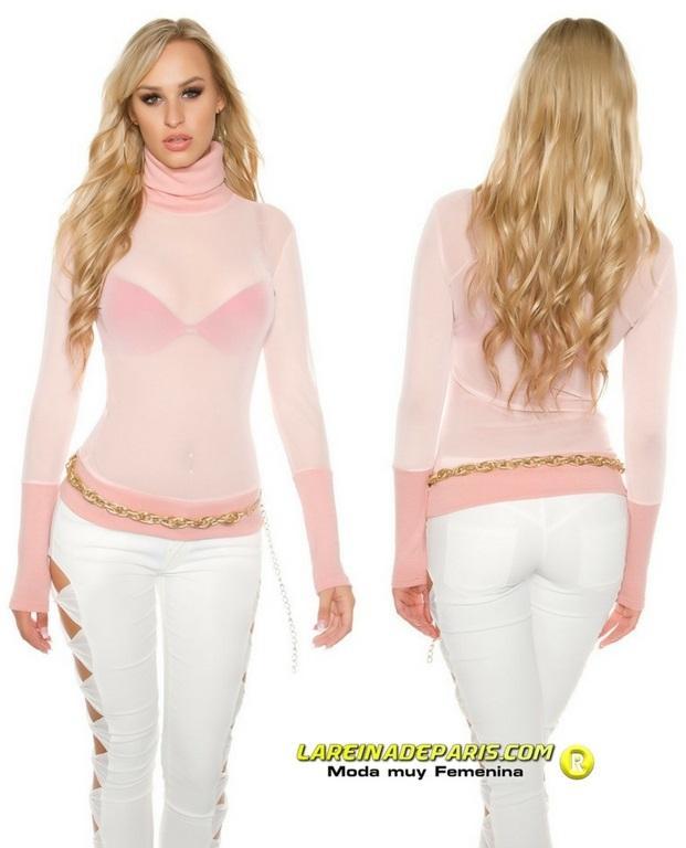 suéter de malla y cuello alto rosa
