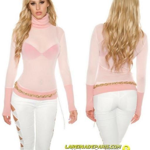 suéter de malla y cuello alto rosa  [0]