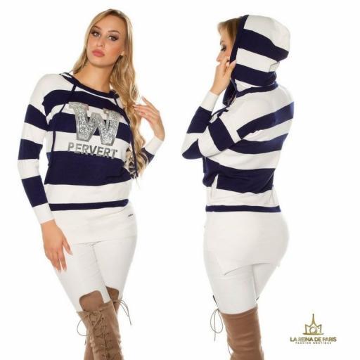 Suéter azul largo hoodie pervert [1]