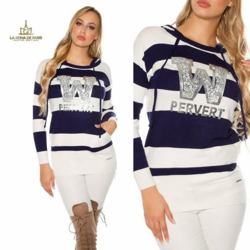 Suéter azul largo hoodie pervert [3]