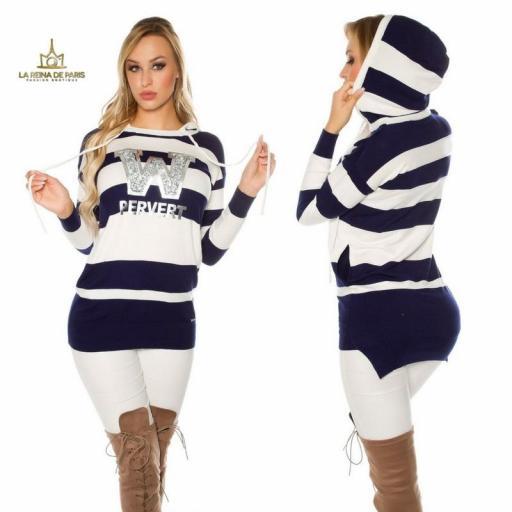 Suéter blanco largo hoodie pervert [1]