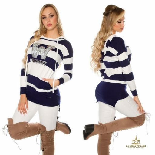Suéter blanco largo hoodie pervert [2]