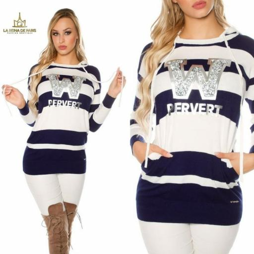 Suéter blanco largo hoodie pervert [3]
