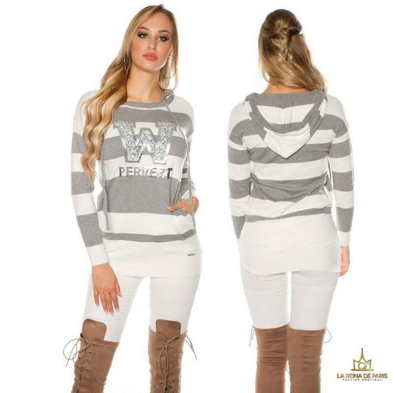 Suéter gris largo hoodie pervert