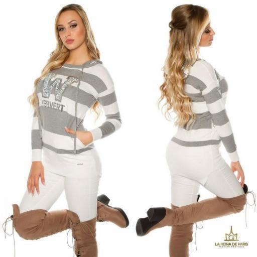 Suéter gris largo hoodie pervert [2]