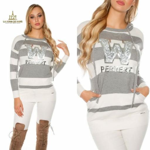 Suéter gris largo hoodie pervert [3]
