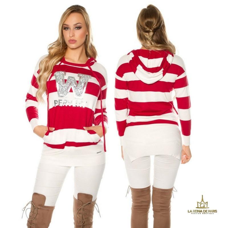 Suéter rojo largo hoodie pervert