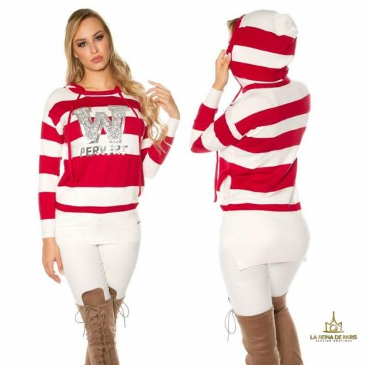Suéter rojo largo hoodie pervert [1]