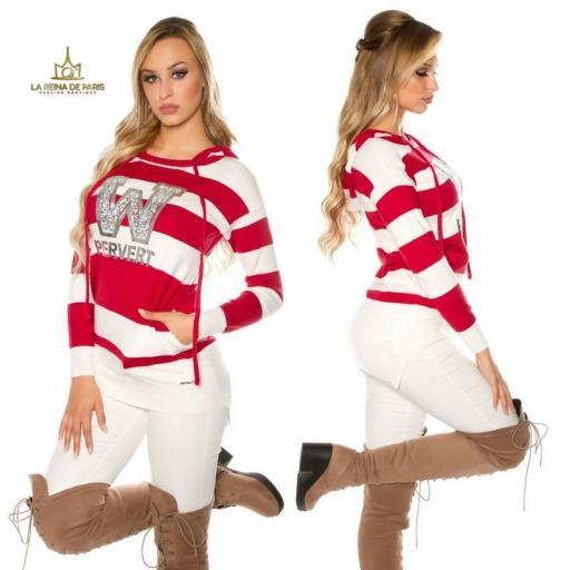 Suéter rojo largo hoodie pervert [3]