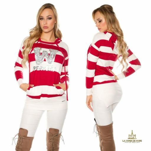 Suéter rojo largo hoodie pervert [2]