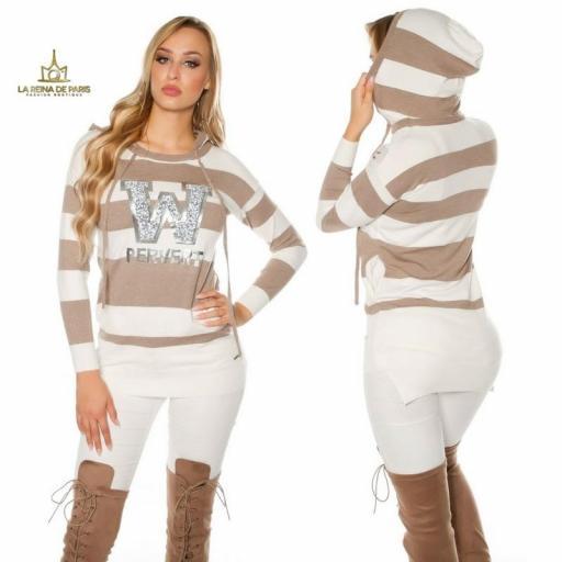Suéter taupe largo hoodie pervert [1]