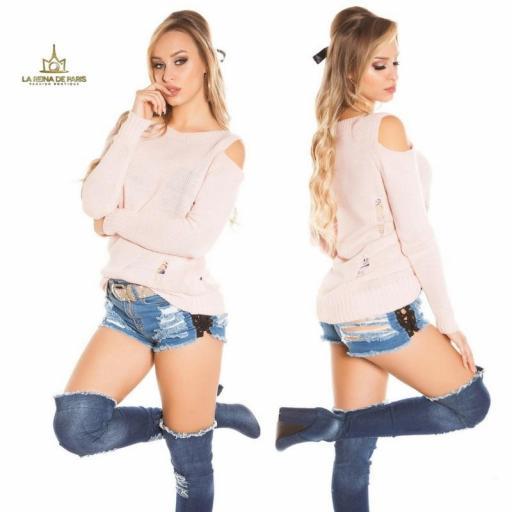 Suéter largo rosa a hombro abierto  [2]