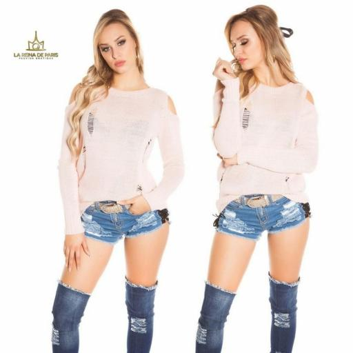 Suéter largo rosa a hombro abierto  [3]
