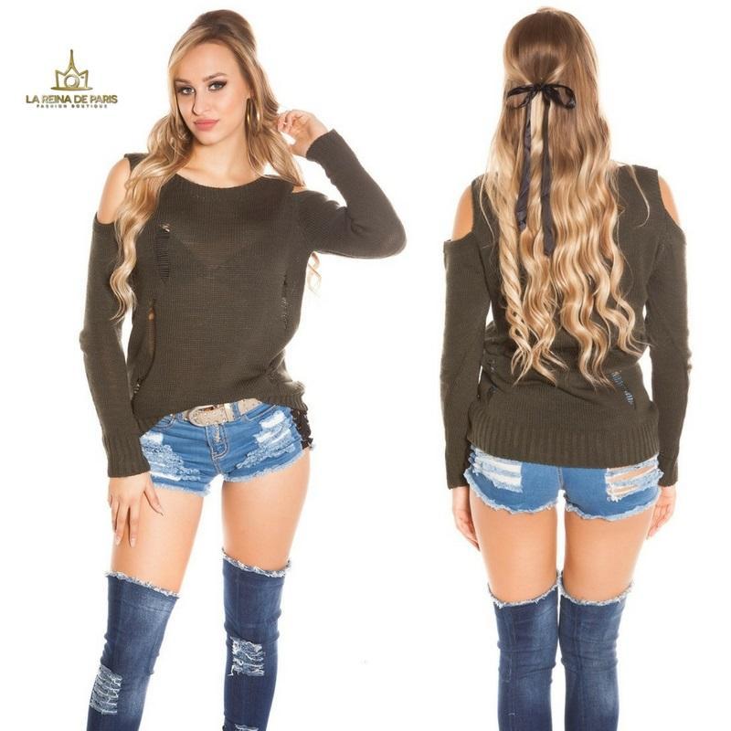 Suéter largo khaki a hombro abierto