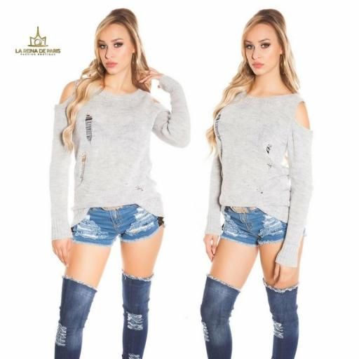 Suéter largo gris a hombro abierto  [3]
