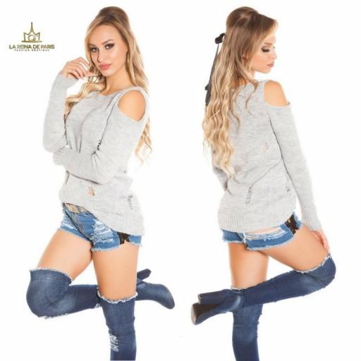 Suéter largo gris a hombro abierto  [2]
