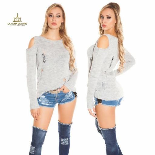 Suéter largo gris a hombro abierto  [1]
