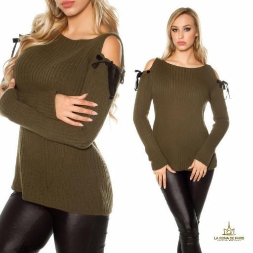 Suéter khaki de hombro frio  [1]
