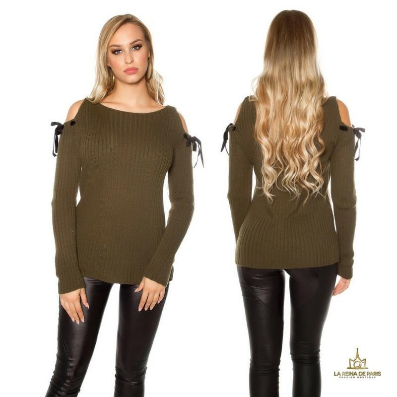 Suéter khaki de hombro frio