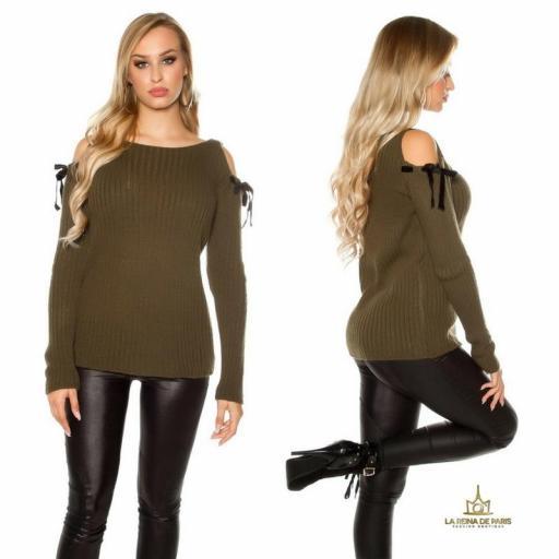 Suéter khaki de hombro frio  [3]